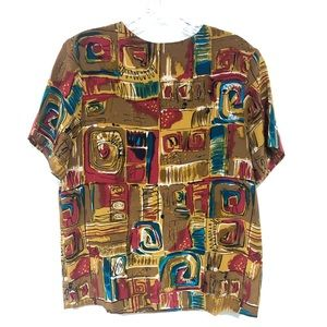 VINTAGE | Silk Gold Abstract Print Blouse
